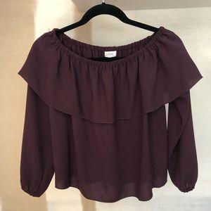 Aritzia plum off the shoulders blouse in XS